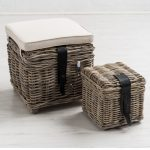 1 Rustic Natural Grey Woven Wicker Cream Cushion Storage Container Baskets Stool …