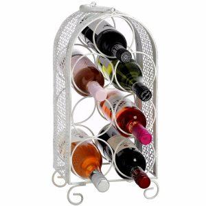 14229 Shabby Chic White 7 Bottle Wine Rack