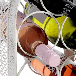 14229-b Shabby Chic White 7 Bottle Wine Rack