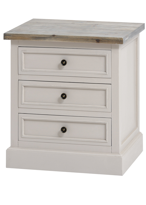 16230 Elegant Classic Soft Grey Fully Assembled Wooden 3 Drawer Side Table