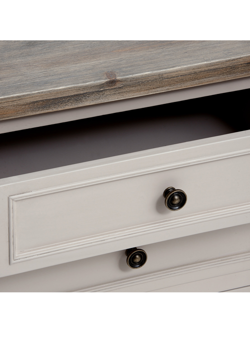 16230-a Elegant Classic Soft Grey Fully Assembled Wooden 3 Drawer Side Table