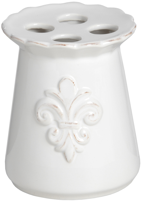 16323 Stylish Elegant White Ceramic Fleur De Lys Bath Room Toothbrush Holder