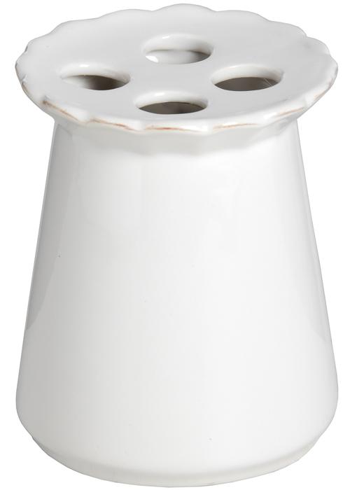 16323-a Stylish Elegant White Ceramic Fleur De Lys Bath Room Toothbrush Holder