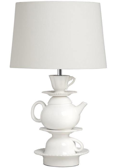 16879 White Linen Ceramic Tea Party Cup Teapot Vintage Style Table Lamp Light …
