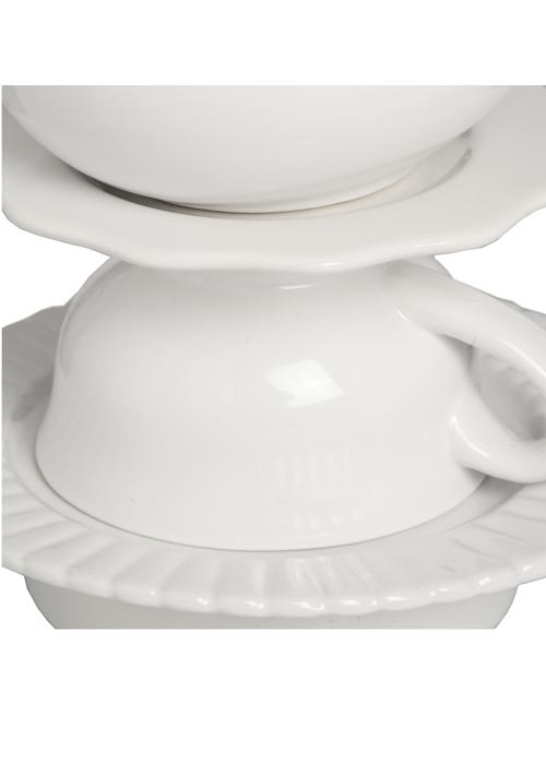 16879-a White Linen Ceramic Tea Party Cup Teapot Vintage Style Table Lamp Light …