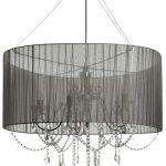 17410 Elegant Crystal Drop Black Metal Chandelier Large Pendant Ceiling Light …