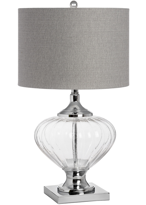 17592 Glass Base Contemporary Polished Chrome Sturdy Large Table Lamp