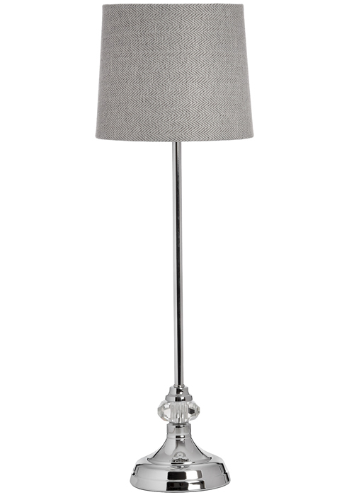 17595 Elegant Silver Polished Chrome Grey Sturdy Table Desk Lamp