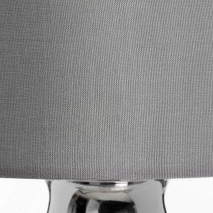 17598-b Elegant Decorative Glass Polished Chrome Grey Shade Sturdy Floor Light Lamp