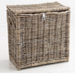 2 Sturdy Woven Wicker Rustic Natural Grey Brown Divided Lidded Laundry Bin Basket