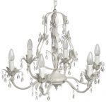2002 Antique White Diamante Crystal Effect Drop Leaves Metal Chandelier Ceiling Light …