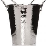 28251_Leaf Leaves Tree Branch Decorative Handles Hammered Stainless Steel Wine Cooler
