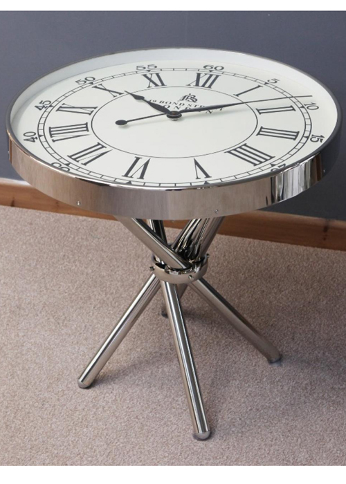 28503_Unique Polished Chrome Metal Coffee End Side TABLE Traditional White  CLOCK Top U2026