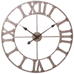 33181_Antique Style Roman Numeral Cut Out Brown Black Metal Round Wall Clock …