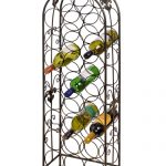 8186 Antiqued Bronze Extra Large Ornate Free Standing Metal 26 Bottle Wine Rack