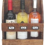 FA018 Full Natural Wood Brown Wall Hanging Free Standing Shelf 3 Bottle Wine Rack