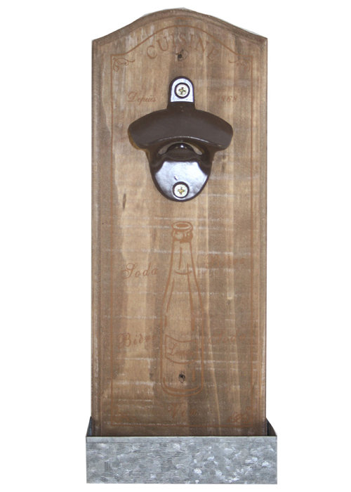 PC294 Vintage French Style Cuisine Wood Wall Mounting Drink Beer Bottle Opener