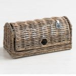 Rustic Natural Grey Brown Sturdy Bread Bin Kitchen Food Storage Container Basket