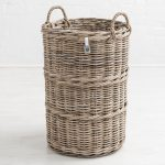 Sturdy Woven Wicker Rustic Natural Grey Brown Round Laundry Bin Basket