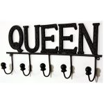 YF1045B Decorative Black Painted Metal QUEEN Wall Plaque Sign 5 Hooks