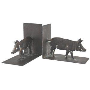 YF1051-1 Country Rustic Pig Grey Brown Book Ends