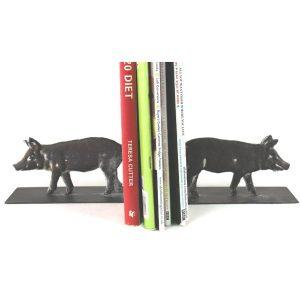 YF1051-3 Country Rustic Pig Grey Brown Book Ends