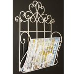 YF1063_3 Ornate Decorative Scroll Cream Metal Magazine Rack Holder