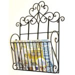 YF1065_1 Ornate Decorative Scroll Black Metal Magazine Rack Holder