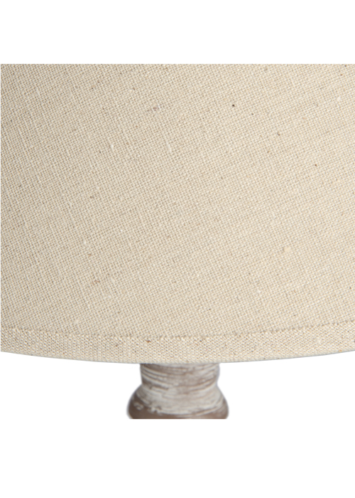 16285-b Elegant Tall Beige Light Brown Wood Linen Shade Table Light Lamp