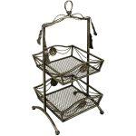 BIM021__Antiqued Silver Metal Ornate 2 Tier Storage Organiser Container Basket Stand