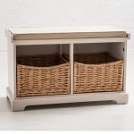 Country Style White Wicker Baskets 2 Seater Hallway Storage Bench