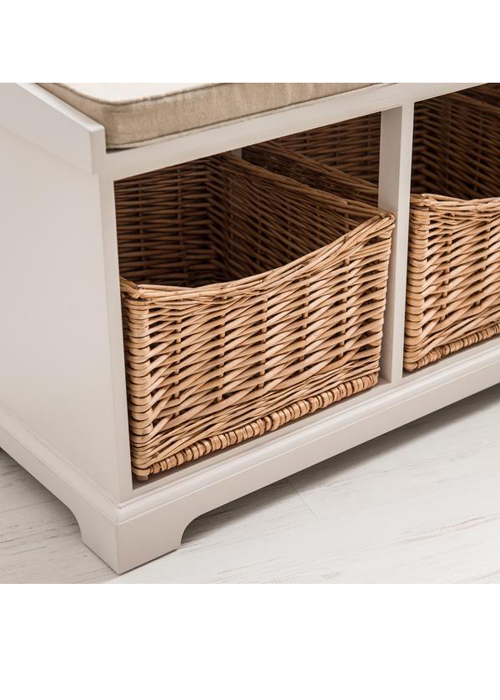Pleasant Country Style White Wicker Baskets 2 Seater Hallway Storage Gamerscity Chair Design For Home Gamerscityorg