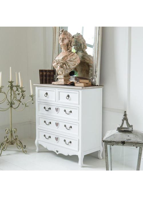 M000255 French Style White Hand Carved Heart Detail Wooden Storage Unit Chest 5 Drawers b