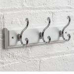 M900930_a_White Wooden Hat Coat Rail Nickel Metal 3 Double Scroll Hooks