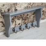 M900952_Painted Dove Grey Wooden Shelf Coat Rack Pewter Metal 4 Double Hooks