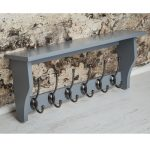 M900953_Painted Dove Grey Shelf Coat Rack Pewter Metal 6 Double Hooks