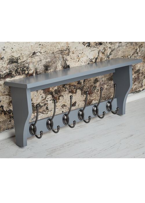 M900953_Painted Dove Grey Shelf Coat Rack Pewter Metal 6 Double Hooks