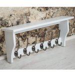 M900955_Painted Paris Pure White Shelf Coat Rack Pewter Metal 6 Double Hooks