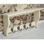 M900956_Painted Cotswold Stone Cream Coat Rack Pewter Metal 4 Hooks