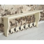 M900957_Painted Cotswold Stone Cream Shelf Coat Rack Pewter Metal 6 Hooks