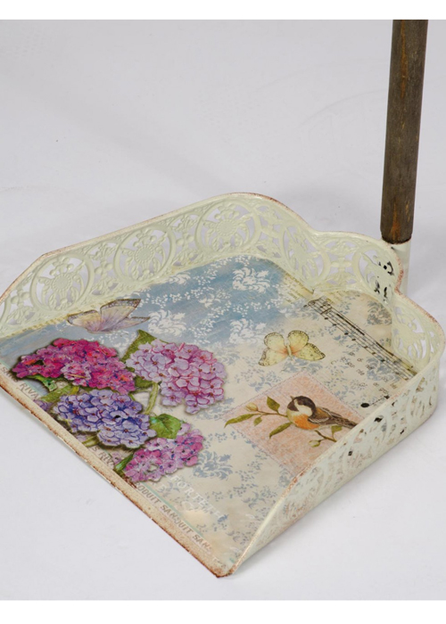 NYC089_1__Vintage Style Floral Pink Blue Decorative Cleaning Accessories Sweep Dust Pan