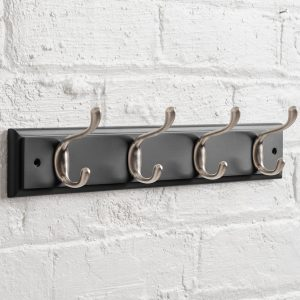Pitch Black Heritage Painted Coat Rack Nickel Metal 4 Hooks