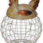QOV005__Farmhouse Style Nesting Hen Chicken Lid Metal Wire Egg Basket Display Holder