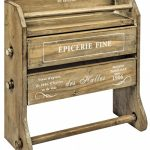 RXC011__French Style Epicerie Wall Mounting Wooden Shelf Kitchen Paper Roll Foil Rack
