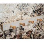 Shaker Style White Washed Pine Finish Wood Wooden Hat Coat Rail 4 Hooks