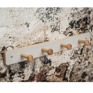 Shaker Style White Washed Pine Finish Wood Wooden Hat Coat Rail 4 Hooks