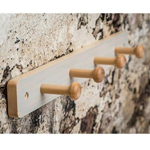 Shaker Style White Washed Pine Finish Wood Wooden Hat Coat Rail 4 Hooks a