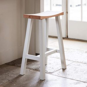 Sturdy Carved Natural Oak Soft Old White Wooden Breakfast Bar Seat Stool 2