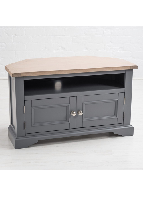 Sturdy Grey Wood Oak Brushed Nickel Handle Television Corner Stand Cabinet a