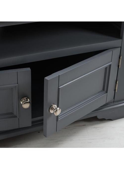 Sturdy Grey Wood Oak Brushed Nickel Handle Television Corner Stand Cabinet c